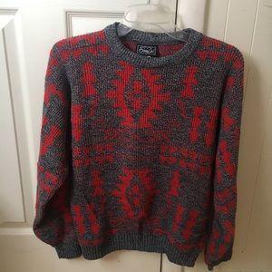 Vtg wool USA Aztec Western blanket sweater